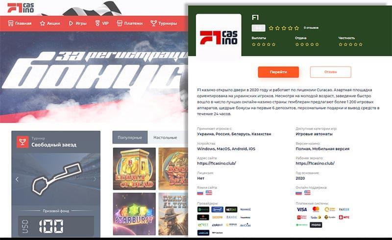 Подробная оценка Ф1 казино от экспертов Casinology